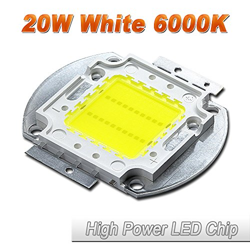 Hontiey High Power LED Chip 20W Pure White Light 6000K-6500K Bulbs 20 Watt Beads DIY Spotlights Floodlight COB Integration Lamp SMD ()