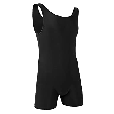 1ddf2aea2f Freebily Men s One-Piece Boxers Leotard Soft Bodysuit Shorts Stretch  Underwear Sportswear Jumpsuit (M