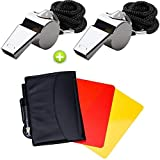 Giveet 2 Metal Whistle with Sports Referee Card Set, Red Yellow Card and Stainless Steel Metal Coach Whistle for Football cards
