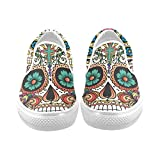 Cheap D-Story Custom Flower Suger Skull Women's Canvas Shoes Fashion Shoes Sneaker
