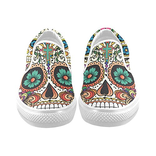D-Story Custom Flower Suger Skull Women's Canvas Shoes Fashion Shoes -