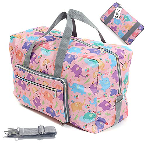 Travel Duffel Bag Foldable Large Travel Bag Weekend Bag Checked Bag Luggage Tote 18 Style 21.6IN x 9.8IN x 13.7IN (pink elephant)