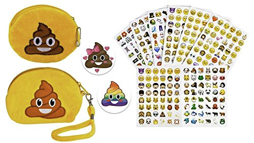 "[Emoji Poop Coin Purse 5.5"" Wristlet & Pouch 4"", 288 Emoji Stickers, (6 Sheets) & 2 Partymoji Emoji Button Pins – Stocking Stuffers For Girls, Teens, BFF, Office, Gift Set –Pins Made in] (Alien Dress Up Ideas For Kids)"