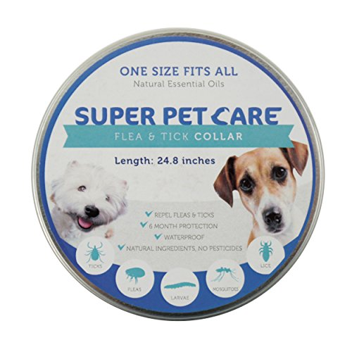 Flea and Tick Repellent Collar for all sizes of Dogs and Cats, Natural Essential Oils, 6 Month Protection,One Size Fits All, 25