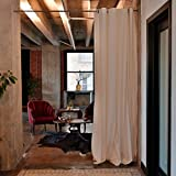 RoomDividersNow Muslin Tension Rod Room Divider Kit - Small B, 9ft Tall x 2ft 4in - 4ft Wide (White)