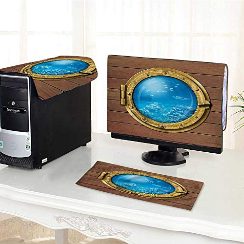 Jiahonghome Keyboard dust Cover Computer 3 Pieces Shark Sub Chamber Window with A View of Reef Swimming Fishes Print Computer dust Cover /19