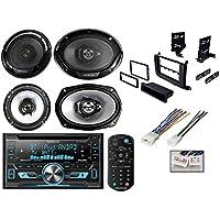 Toyota Sienna Car Stereo Install Dash Kit Wiring Harness W/ Kenwood Double Din Bluetooth Car Radio Receiver DPX502BT +KFC-1665S 6.5 300W 2-Way Plus (2) 6x9 400W 3-Way Car Speakers