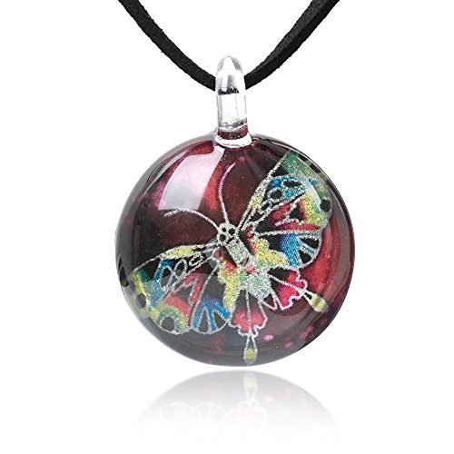Chuvora Hand Blown Glass Jewelry Multi-Colored Butterfly Wing Round Pendant Necklace, 17