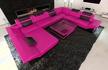 Design Wohnlandschaft Enzo XXL pink - schwarz: Amazon.de: Küche ...