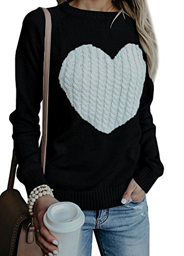 Maternity Cable Crewneck Sweater - BARFFARI Womens Casual Cable Knitted Crewneck Heart Love Oversized Pullover Sweater