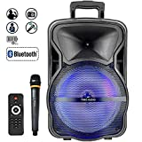 """15"""" Tailgate Bluetooth Portable 600W PA Speaker with MP3/USB/TF/FM Radio/KARAOKE function, LED Party Light,wireless Microphone, remote control, rechargeable battery, and wheels& Hole designed for speaker stand"""