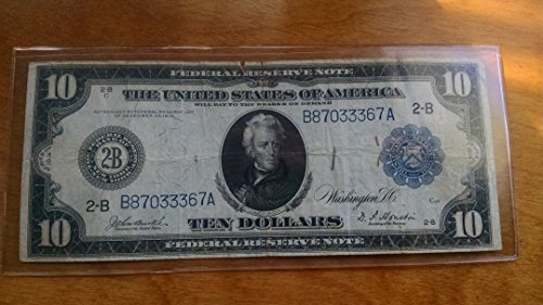 1913 $10 Federal Reserve Blue Seal Large Note - Federal Reserve Note Blue Seal