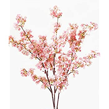Ahvoler 39 Inch Artificial Cherry Blossom Branches Flowers Silk Peach Flowers Arrangements for Home Wedding Decoration (3 pcs Pink)