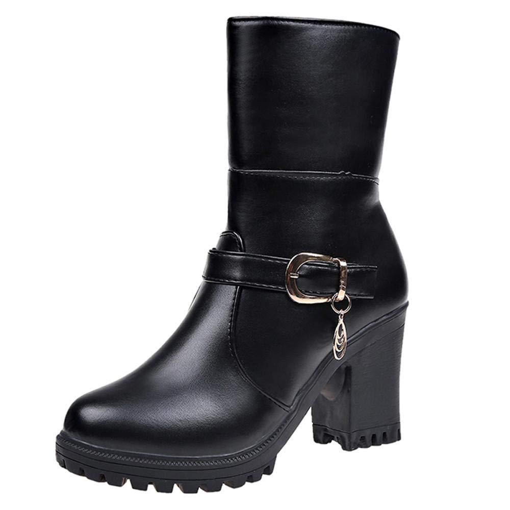Logobeing Tacones Mujer Plataforma Zapatos Botines de Tacon Mujer Invierno Cómodo Moda 2018 Botas Altos Cuña Zapatos de Tacón Mujer-07045(35,Negro)