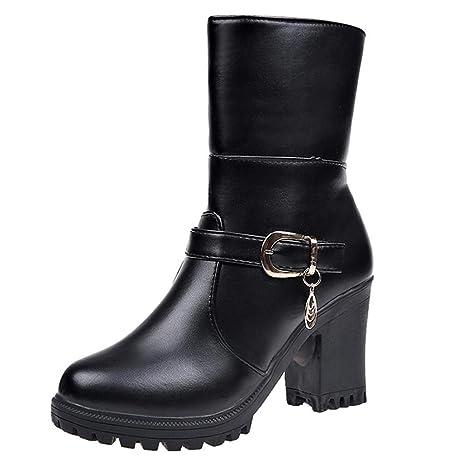 Logobeing Botas de Agua Mujer Botines Mujer Tacon Zapatos de Tacón Alto de Cuero con Punta