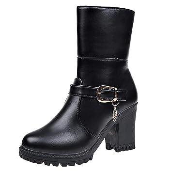 Logobeing Botas de Agua Mujer Botines Mujer Tacon Zapatos de Tacón Alto de Cuero con Punta Redonda Mujer Botas de Mujer(35,Negro): Amazon.es: Equipaje