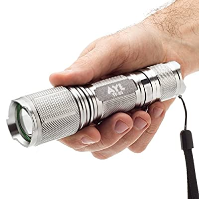 AYL TF89 Bright 900 Lumens CREE XM-L2 LED Tactical Torch Flashlight, 5 Modes, Zoom Lens with Adjustable Focus - Water Resistant, Lighting Lamp - For Hiking, Camping, Blackouts and Emergencies! from AYL