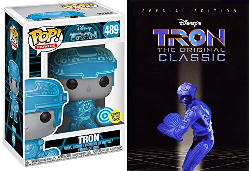 Glow Tron Disney Movie & Figure Set 2 Disc Special Edition Movie + Documentary DVD & Pop Glow Vinyl Collectible Figure