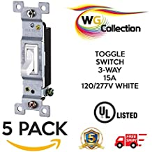 WG Collection Residential Grade, Lighted Toggle Switch, 3-Way , 15A, 120/277V , White Perfect for Residential and Commercial Use (5 Pack)