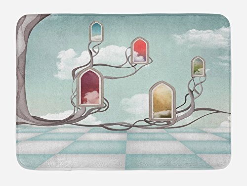 Ambesonne Magic Bath Mat, Colored Mirrors Over Tree Branch Clouds Dream Room -