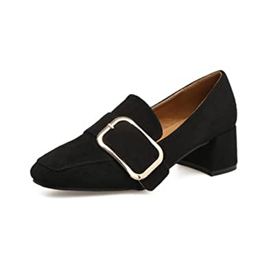 77abbba0291 Women s Slip-On Loafers Pumps Suede Square Toe Block Heel Dress Classic  Penny Loafer Pump