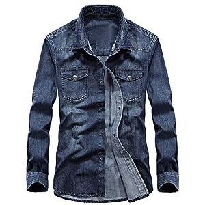 Men's  Button Down Long Sleeve Washed Denim Shirt