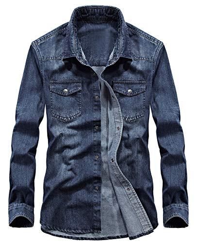 chouyatou Men's Essential Button Down Long Sleeve Washed Denim Shirt (Small, Dark - Jackets Blue Essential