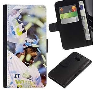 NEECELL GIFT forCITY // Billetera de cuero Caso Cubierta de protección Carcasa / Leather Wallet Case for HTC One M8 // Fanático del fútbol americano
