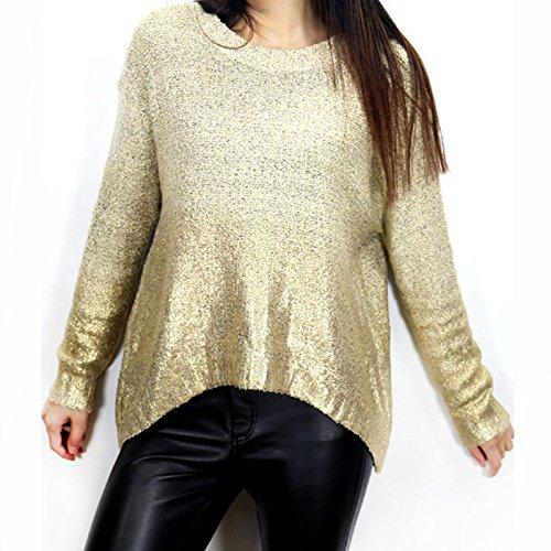 Hrph Mujeres de la manera tapas de la ropa informal de manga larga con capucha del dorado de punto flojo del suéter Pullover oro desnuda