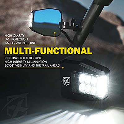 Xprite UTV Rear View Side Mirrors with Clear Lens LED Spot Lights fit 1.5-2.5 Inch Roll Bar Cage for Polaris RZR XP 1000, ATV, UTV, Side by Side, CAN-AM Maverick X3, Teryx, Yamaha: Automotive