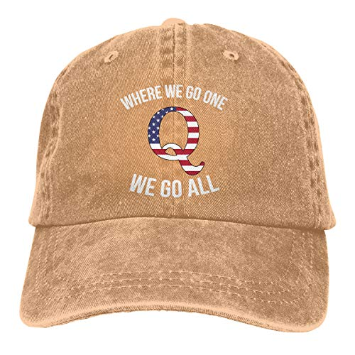 Q Anon Where We Go One We Go All Vintage Washed Dyed Dad Hat Adjustable Baseball Hat (Natural, One Size)