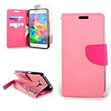 CoverON® for Samsung Galaxy Grand Prime Wallet Case [CarryAll Series] Flip Credit Card Phone Cover Pouch with Screen Protector and Wristlet Strap - Light pink / hot pink