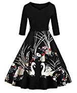 ZAFUL Women's 50s Vintage Floral V-Neck Midi Dress 3/4 Sleeve Cocktail Party A Line Swing Dresses with Belt