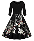 ZAFUL Women's 50s Vintage Floral V-Neck 3/4 Sleeve Swing Party Dresses with Belt (XL, Black)
