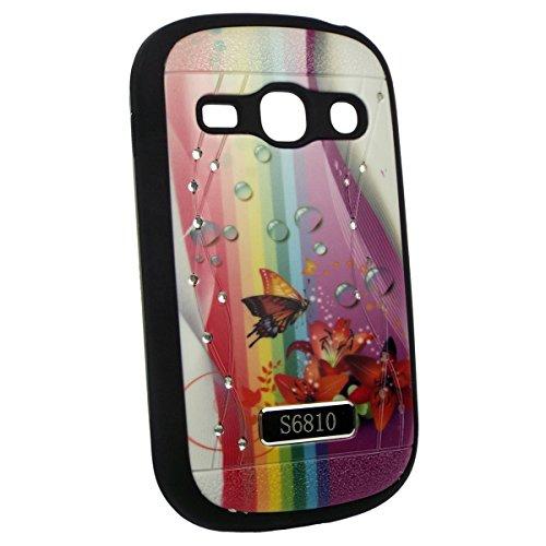 Capa Samsung S6810 Galaxy Fame TPU Luxo Decorada - Arco Iris, Flores e Borboleta