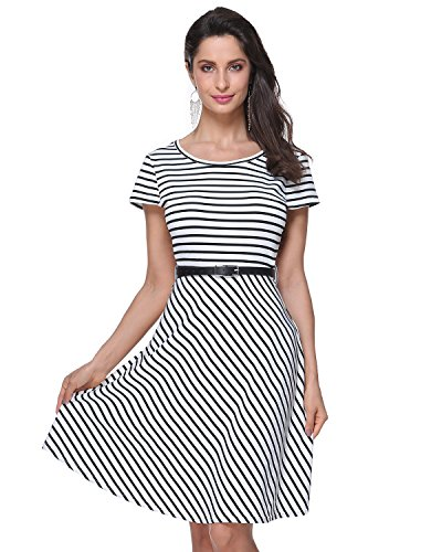 White Casual Women's Dress with Short A Belt Kenancy Knee Sleeve Gamiss Line Length Dress Stripe X6wqxxFRnv