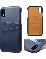 """Compatible iPhone XR Wallet Case, iPhone XR Card Holder Case, Diaxbest Slim Leather Case with Credit Card Holder Slots Pocket Protective Case Cover for iPhone XR 6.1"""" (Blue)"""