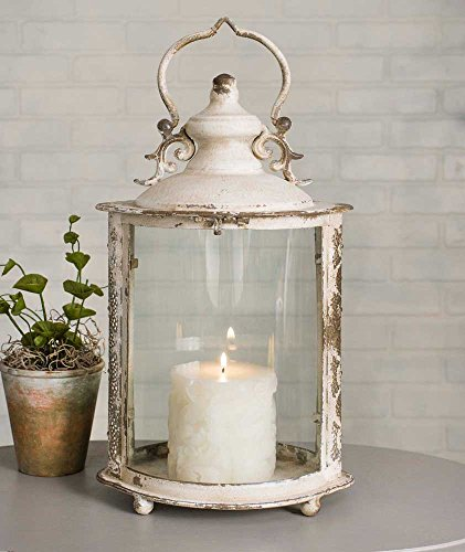 Distressed Ivory Oval Candle Lantern