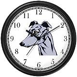 Greyhound Dog Wall Clock by WatchBuddy Timepieces (Black Frame)
