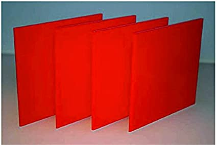 NAWAB Plastic Acrylic sheet (6''X6''/3 mm, Red) -Pack of 4