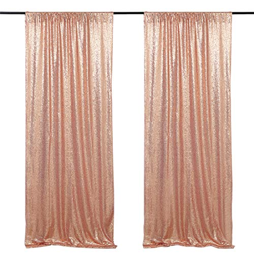 Wedding Photo Backdrop 2 Pieces 2ftx8ft Rose Gold Sequin Fabric Backdrop Prom Curtain Backdrop Baby Shower Photo -