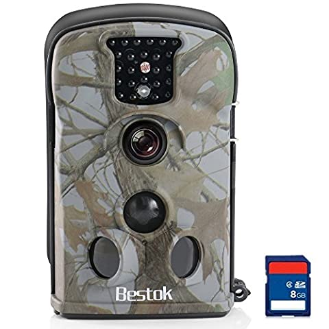 Bestok Trail Cams with Night Vision Deer Camera Infrared Thermal PIR Sensor No Flash in Dark and Waterproof Design IP54 With 2.4 LCD Screen and Operation Friendly Game Camera with 8G SD (Thermal Cameras For Sale)