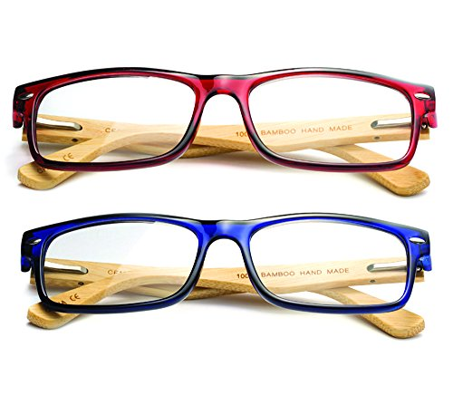 Newbee Fashion - Real Bamboo Arms Rectangle Simple Design Modern Clear Lens Glasses with Spring Hinge 2 Pack Bamboo Blue & Red