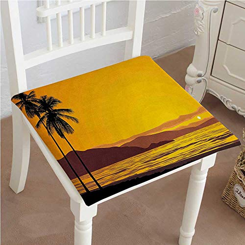 "Mikihome Premium Comfort Seat Cushion Tropical Coconut on The by Sea at Sky Holiday Marig Black Cushion for Office Chair Car Seat Cushion 22""x22""x2pcs"