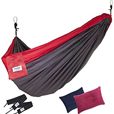 2 Person Hammock by Unlimited Camp: 3 Seam Nylon Portable Lightweight Bedding for Camping, Hiking, Beach, or Yard plus Free Pillows, Ropes, and Straps