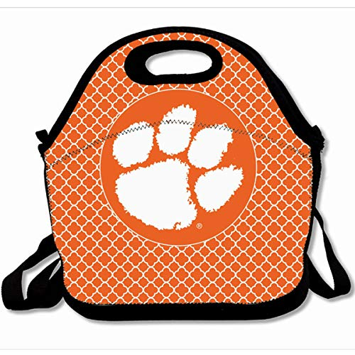 (Ahawoso Reusable Insulated Lunch Tote Bag Clemson University Tiger Paw Home Sofa 10X11 Zippered Neoprene School Picnic Gourmet Lunchbox )