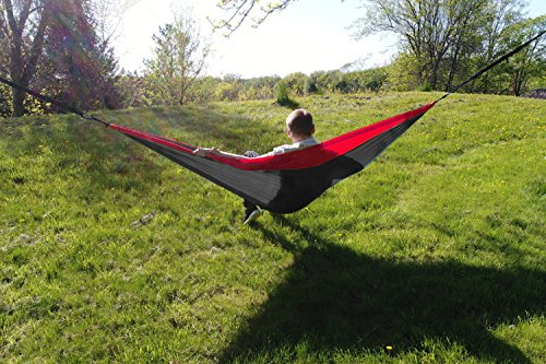 Unigear Single & Double Camping Hammock, Portable Lightweight Parachute Nylon Hammock with Tree Straps for Backpacking, Camping, Travel, Beach, Garden
