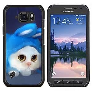 EJOOY---Cubierta de la caja de protección para la piel dura ** Samsung Galaxy S6Active Active G890A ** --Gato divertido lindo