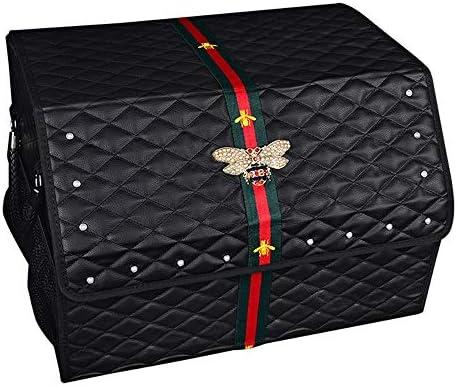 カーオーガナイザートランク 車の収納ボックス - 2つのサイズ - ショッピングキャンプピクニックホームガレージのためのふたポータブル車の収納ボックスビンSUVバン・カーゴキャリアキャディー付き折りたたみトランクオーガナイザー -カーアクセサリー (Size : 46x32cm)