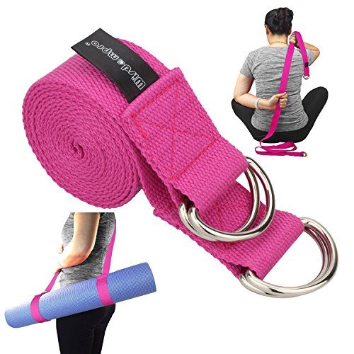 Wisdompro Yoga Strap for Stretching and Posing Doubles as A Yoga Exercise Mat Carrier Sling with 4 D-Rings - A 2-in-1 Extra Value Combination (Hotpink)